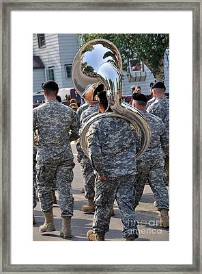 Tuba Player In A Army Marching Band Framed Print by Gary Whitton