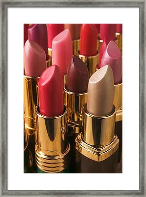 Tubes Of Lipstick Framed Print