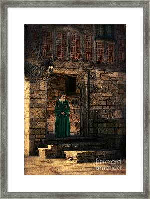 Tudor Lady In Doorway Framed Print by Jill Battaglia