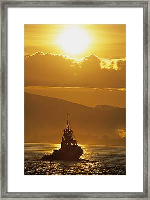 Tugboat At Sunrise, Burrard Inlet Framed Print by Ron Watts