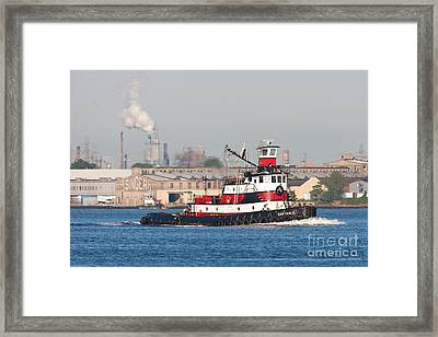 Tugboat Captain D In Newark Bay I Framed Print by Clarence Holmes