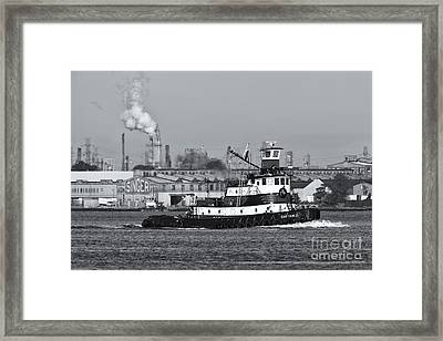 Tugboat Captain D In Newark Bay II Framed Print by Clarence Holmes