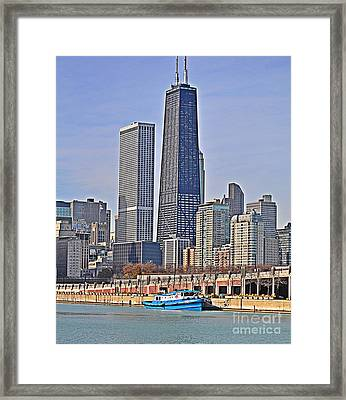 Tugboat On The Chicago River Framed Print by Mary Machare