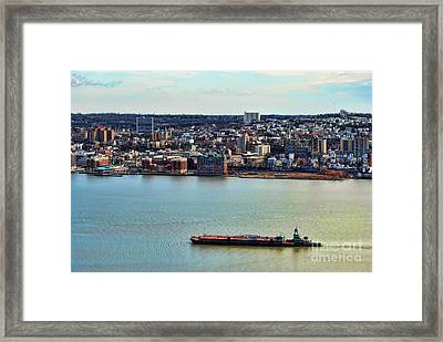 Tugboat On The Hudson Framed Print by Paul Ward