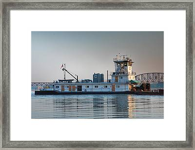 Tugboat On The Ohio I Framed Print by Steven Ainsworth