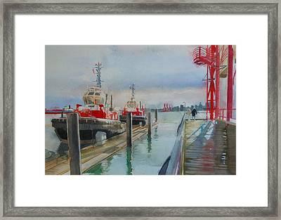 Tugboats Framed Print by Sandrine Pelissier