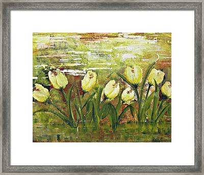 Framed Print featuring the painting Tulip Dance by Kathy Sheeran