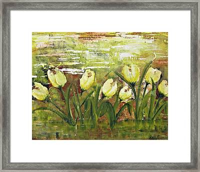 Tulip Dance Framed Print by Kathy Sheeran