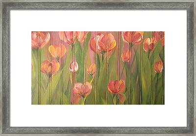 Framed Print featuring the painting Tulip Field by Kathy Sheeran