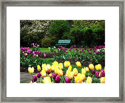 Framed Print featuring the digital art Tulip Gardens  by Glenna McRae