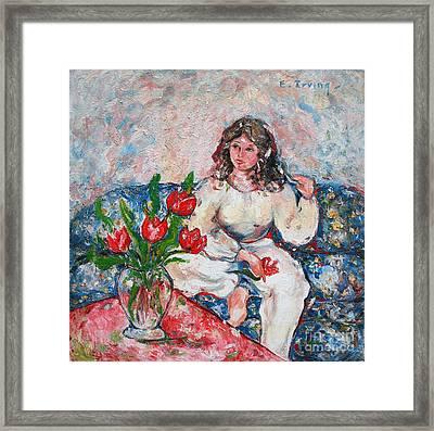 Tulip Girl Framed Print by Elena Irving