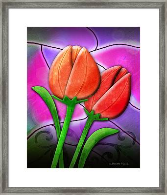 Tulip Glass Framed Print by Melisa Meyers