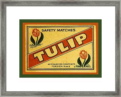 Tulip Safety Matches Matchbox Label Framed Print