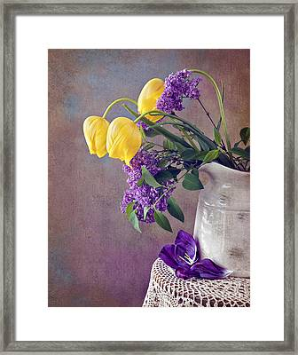 Tulips And Lilac Still Life Framed Print by Cheryl Davis