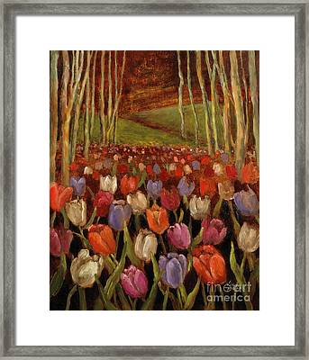 Tulips In The Woods Framed Print by Vic  Mastis