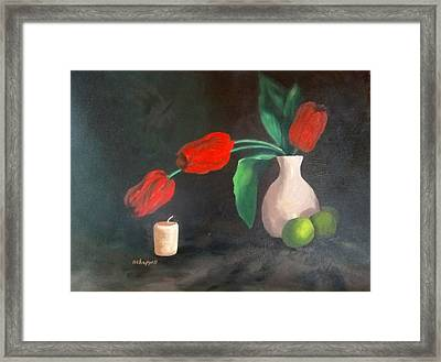 Tulips Limes And Candle Framed Print