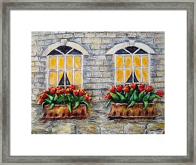 Tulips On The Wall Framed Print