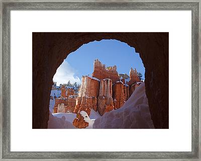 Tunnel In The Rock Framed Print
