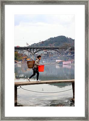 Tuojiang River In Fenghuang Framed Print by Valentino Visentini