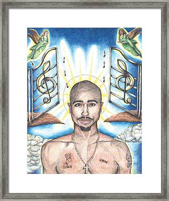 Tupac In Heaven Framed Print by Debbie DeWitt