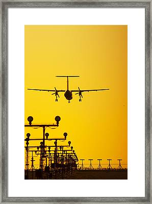 Turboprop Commercial Airplane Landing Framed Print by Brian Stablyk