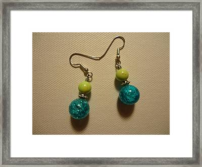 Turquoise And Apple Drop Earrings Framed Print