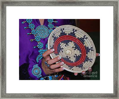 Turquoise And Navajo Wedding Basket Framed Print by Anne Gordon
