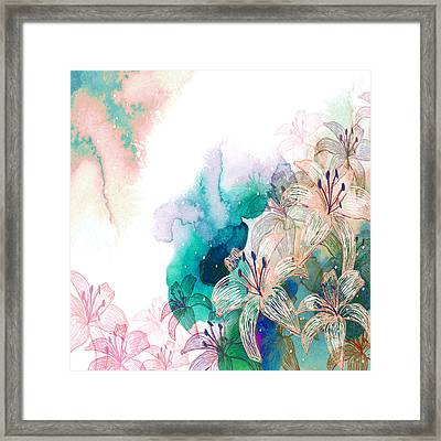 Turquoise Lilies Framed Print by Carly Ralph