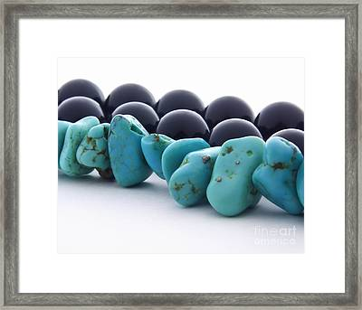 Turquoise Stones And Black Pearls Framed Print