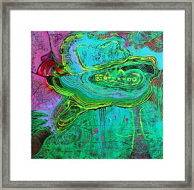 Turtle In The Emerald Ocean Framed Print by Lolita Bronzini