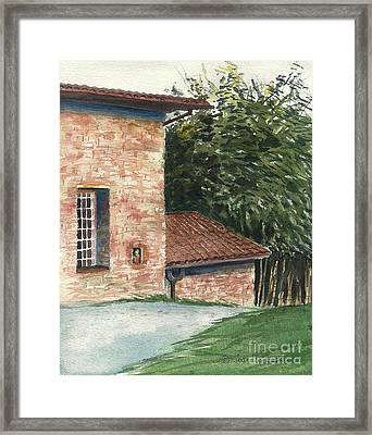 Framed Print featuring the painting Tuscan Brick And Bamboo by Joan Hartenstein