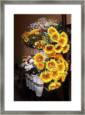 Tuscan Flower Stand Framed Print