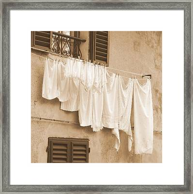 Framed Print featuring the photograph Tuscan Laundry by Ramona Johnston