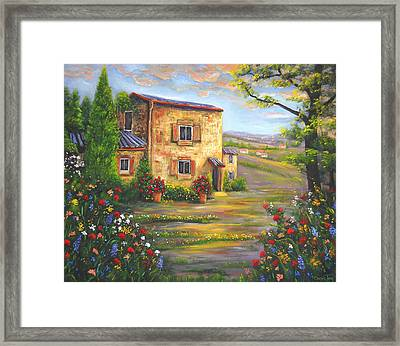 Tuscany Farmhouse Framed Print by Connie Tom