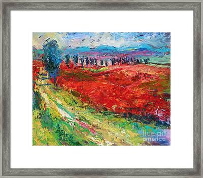 Tuscany Italy Landscape Poppy Field Framed Print by Svetlana Novikova