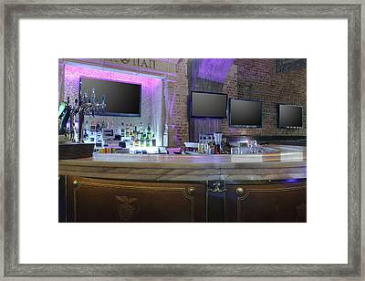 Tv Screens In A Row Against Bar Stand Framed Print by Magomed Magomedagaev