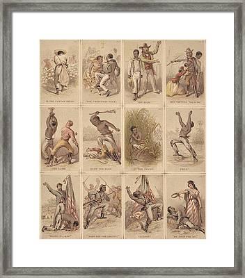 Twelve Illustrated Cards Narrating Framed Print