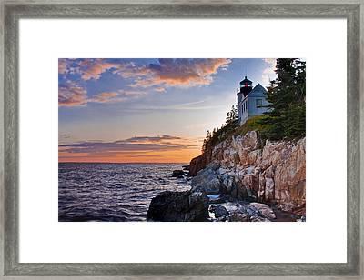 Twilight At The Bass Harbor Head Light  Framed Print by Jim Neumann