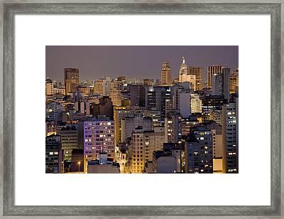 Twilight In The City Of Sao Paulo, Brazil Framed Print by David Davis