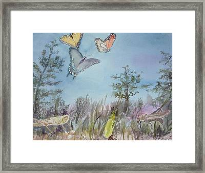 Twilight In The Garden Framed Print by Dorothy Herron