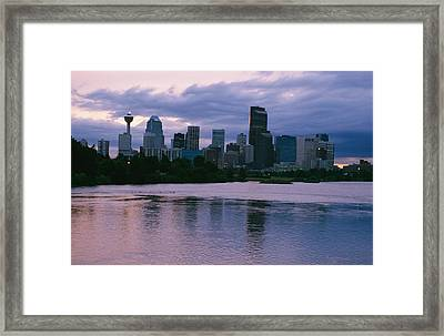 Twilight On The Bow River And Calgary Framed Print by Michael S. Lewis