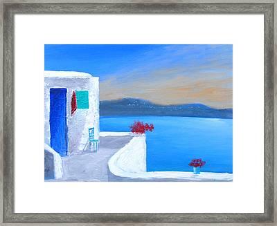 Twilight Santorini Framed Print
