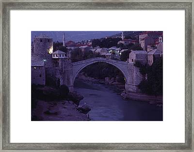 Twilight View Of A 15th-century Bridge Framed Print by James L. Stanfield