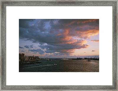 Twilight View Of The Port Of Singapore Framed Print by Annie Griffiths