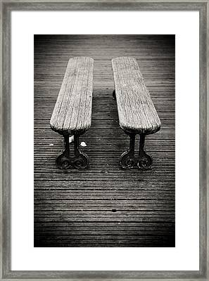Framed Print featuring the photograph Twin Benches by Edward Myers