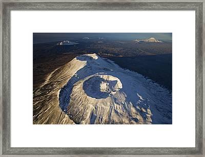 Twin Craters Atop Krasheninnikov Framed Print by Michael Melford
