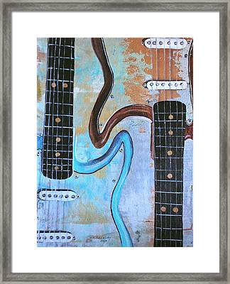 Twin Guitars Framed Print by Mary Kay Holladay