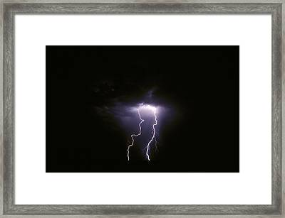 Twin Lightening Forks Slam Into A Salt Framed Print by Jason Edwards
