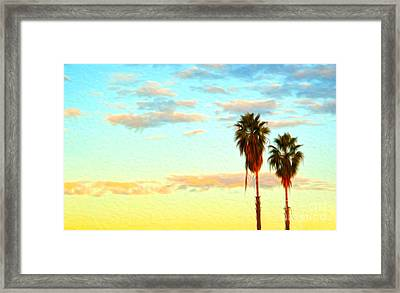 Framed Print featuring the painting Twin Palms by Gregory Dyer