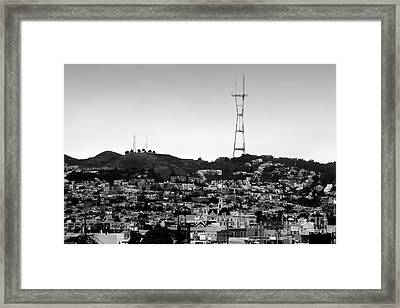 Twin Peaks In San Francisco . Black And White Framed Print by Wingsdomain Art and Photography